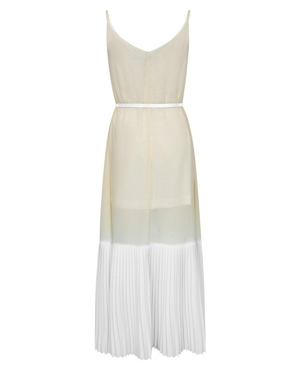 Платье с белым плиссированным воланом