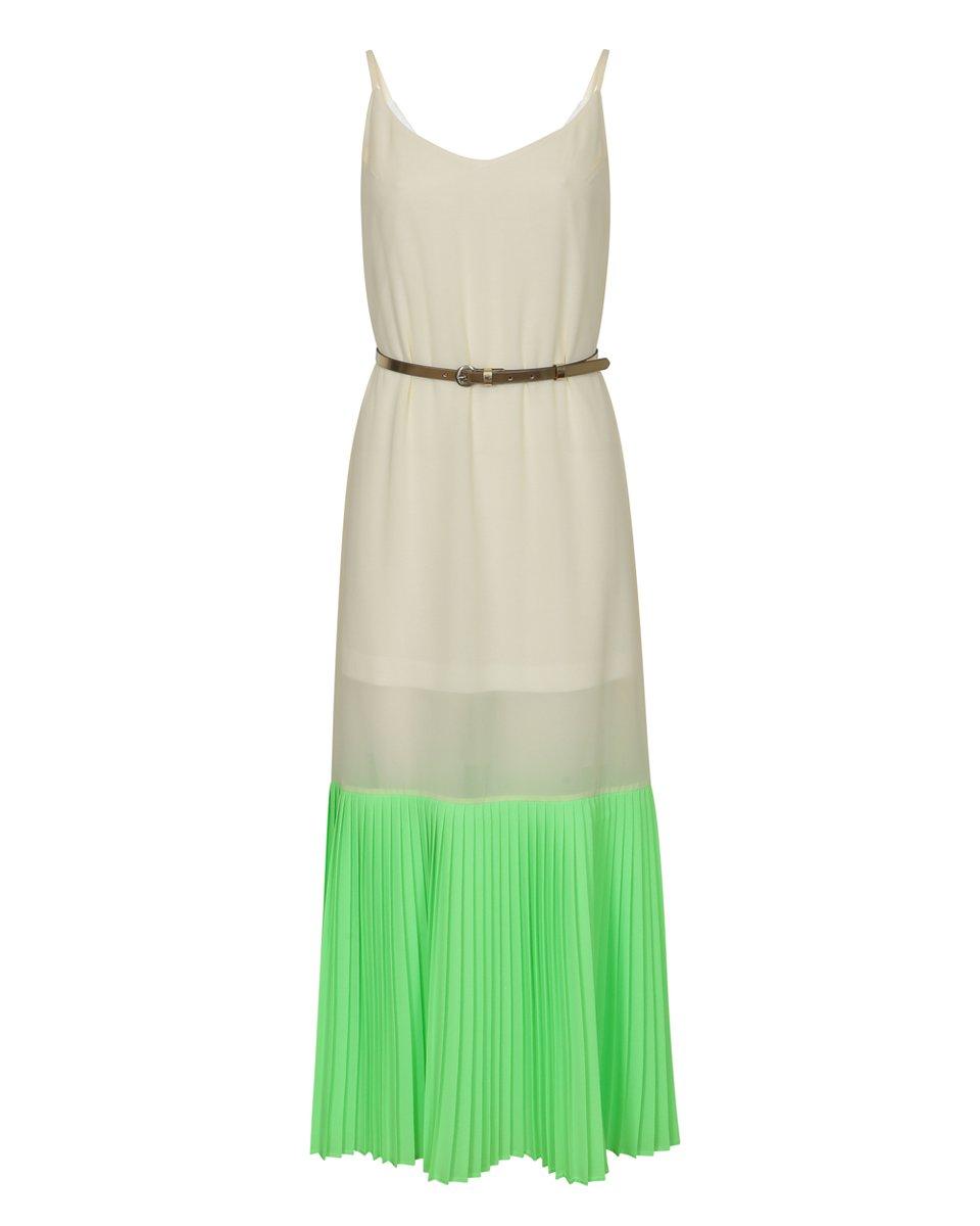 Платье с неоновым плиссированным воланом