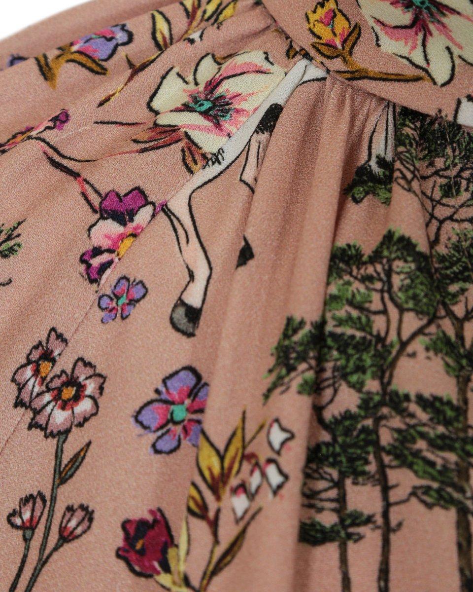 """Платье с принтом """"Единороги"""" и поясом с декоративными кистями"""