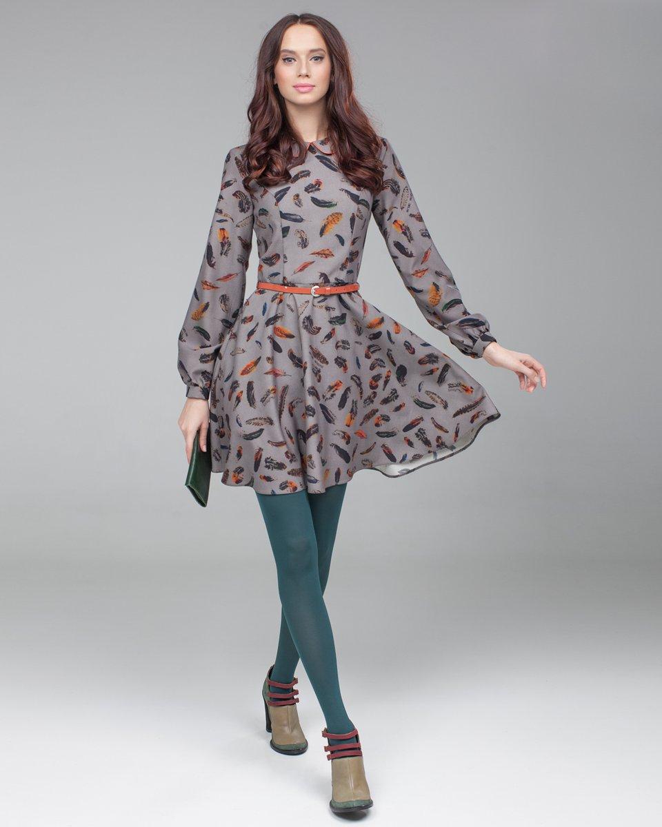"""Платье с принтом """"перо"""" короткое"""