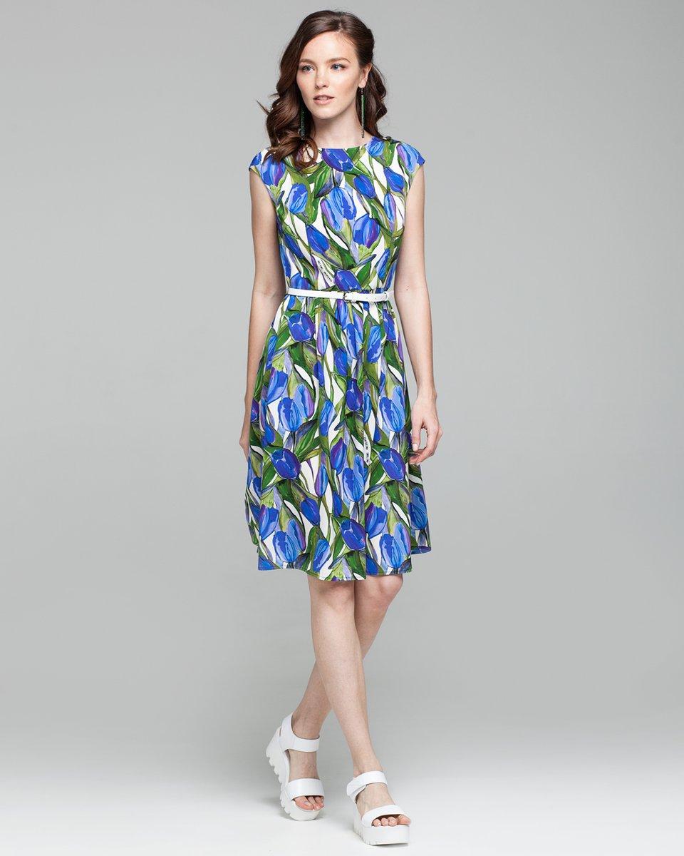 """Платье с принтом """"синие тюльпаны"""""""