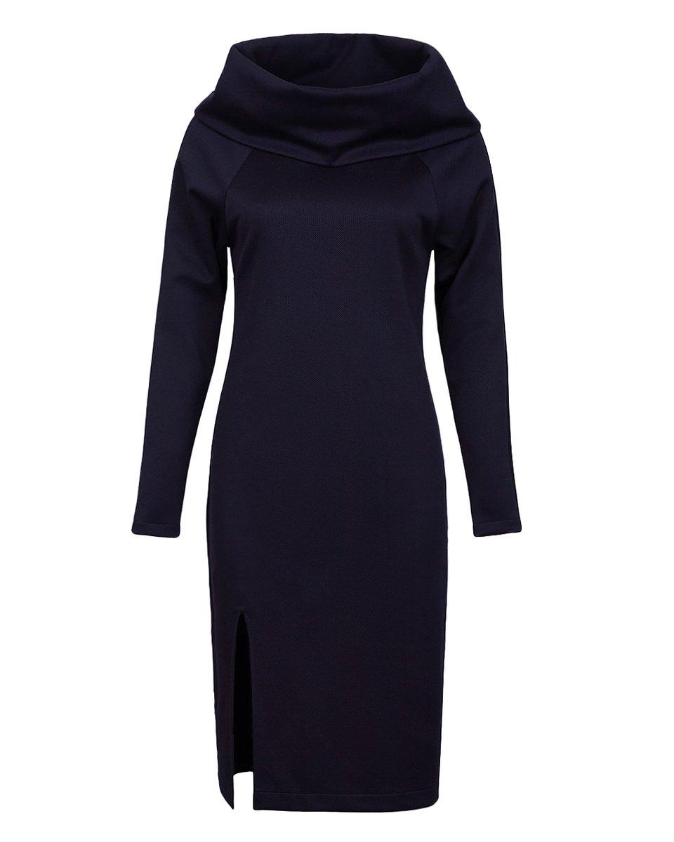 Платье с воротником-хомут и разрезом спереди