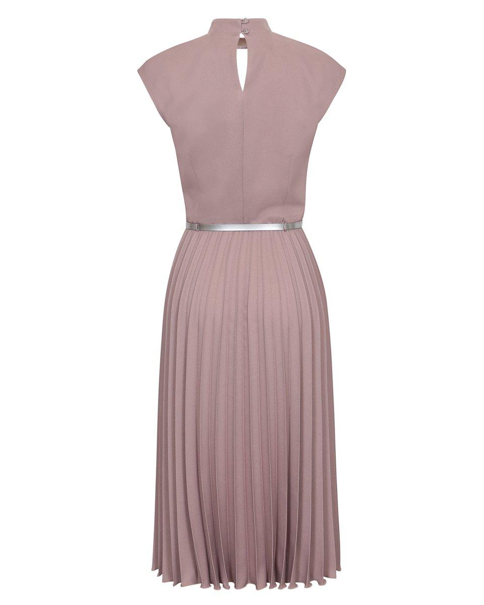 Платье с юбкой гофре, бежевого цвета