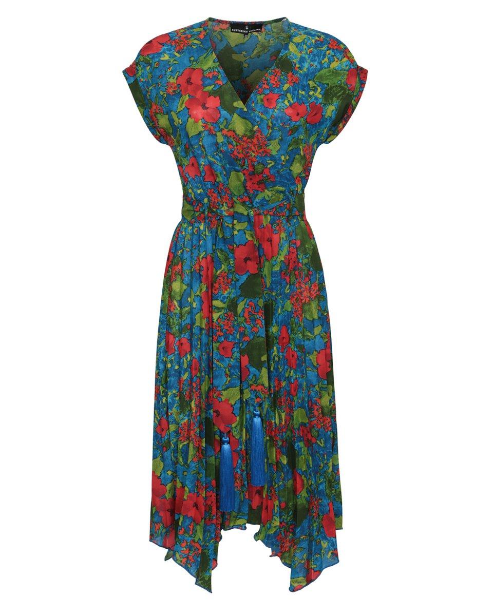 Платье с юбкой гофре и декоративными кистями