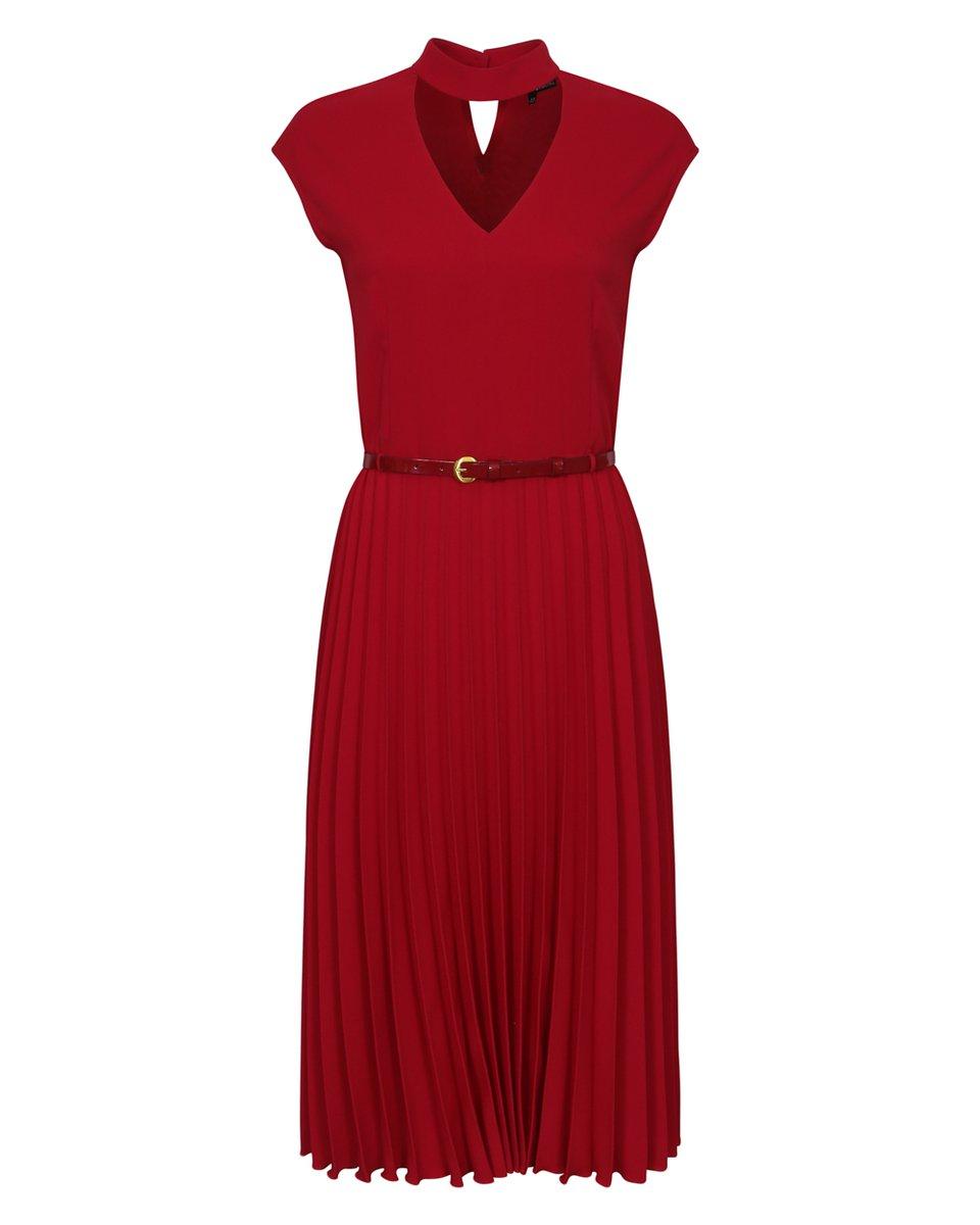 Платье с юбкой гофре, красного цвета