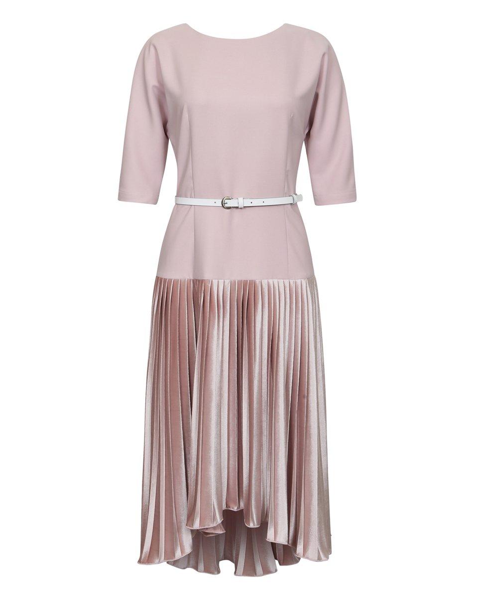 Платье с юбкой плиссе из бархата, пудрового цвета
