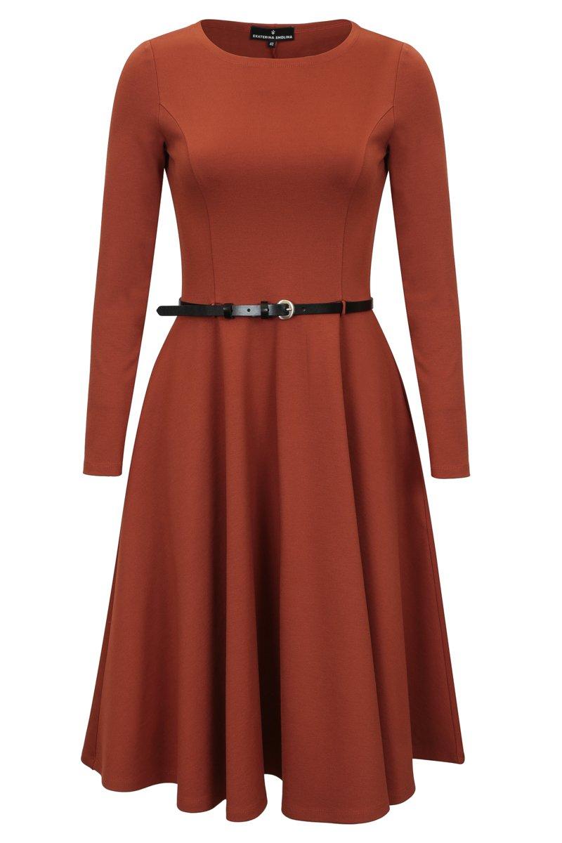 Платье с юбкой-солнце длиной ниже колена