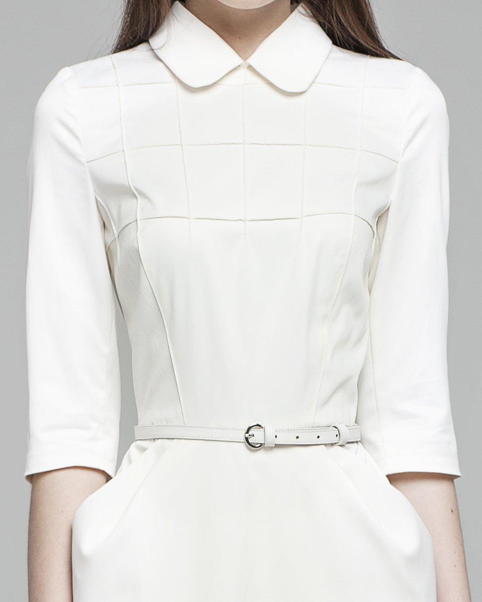 Платье с юбкой-тюльпан и фигурной отстрочкой