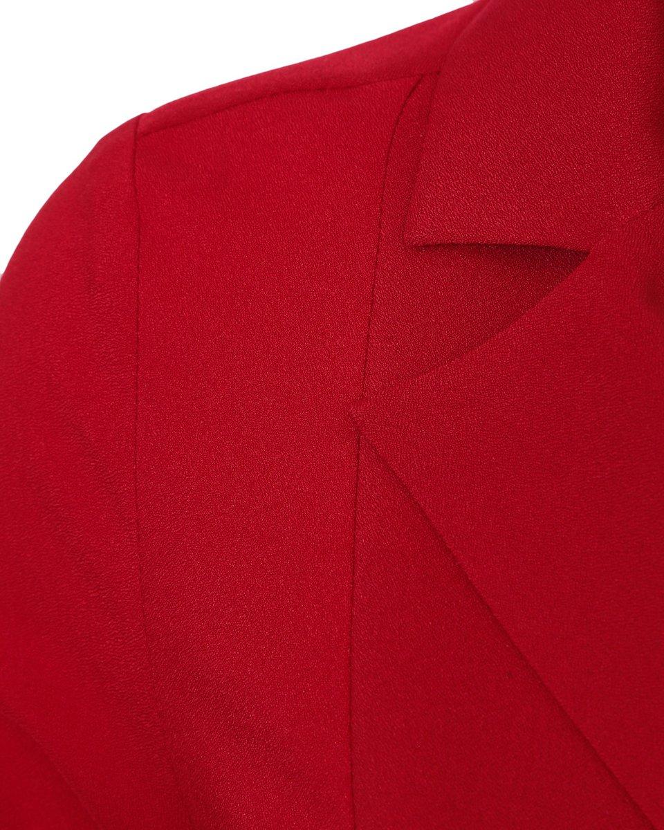 Платье с запахом и плиссированной вставкой, красного цвета