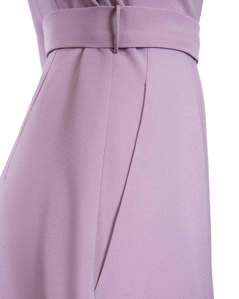 Платье с запахом и плиссированной вставкой, пудрового цвета