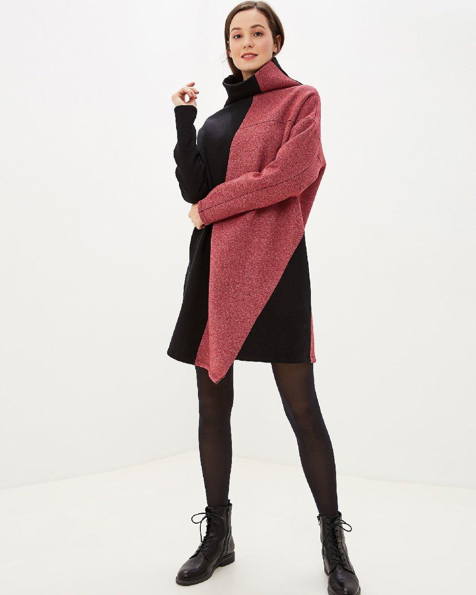 Платье черно-розового цвета с асимметричным подолом