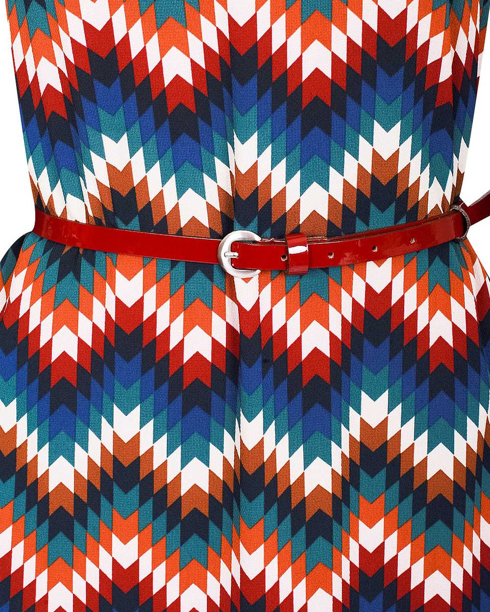 Платье длины макси синего цвета из комбинированной ткани с принтом зигзаг