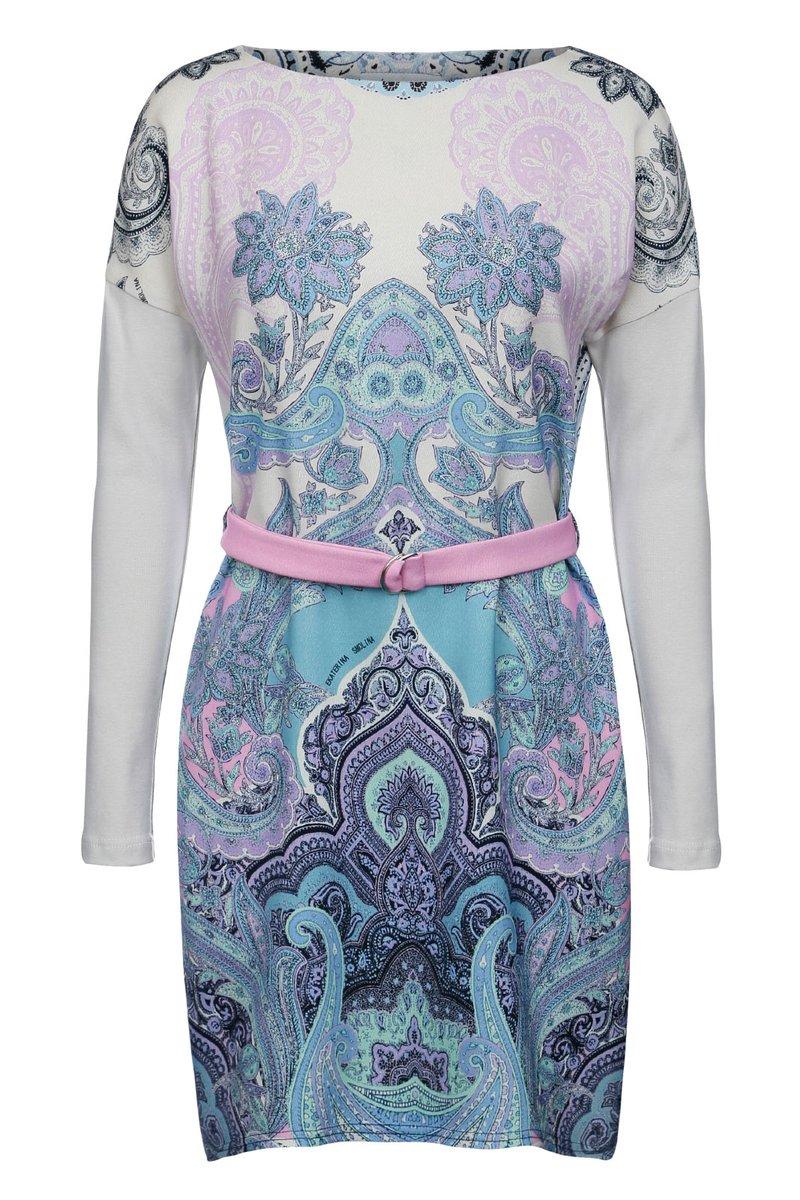 Платье из трикотажа с авторским принтом, с поясом