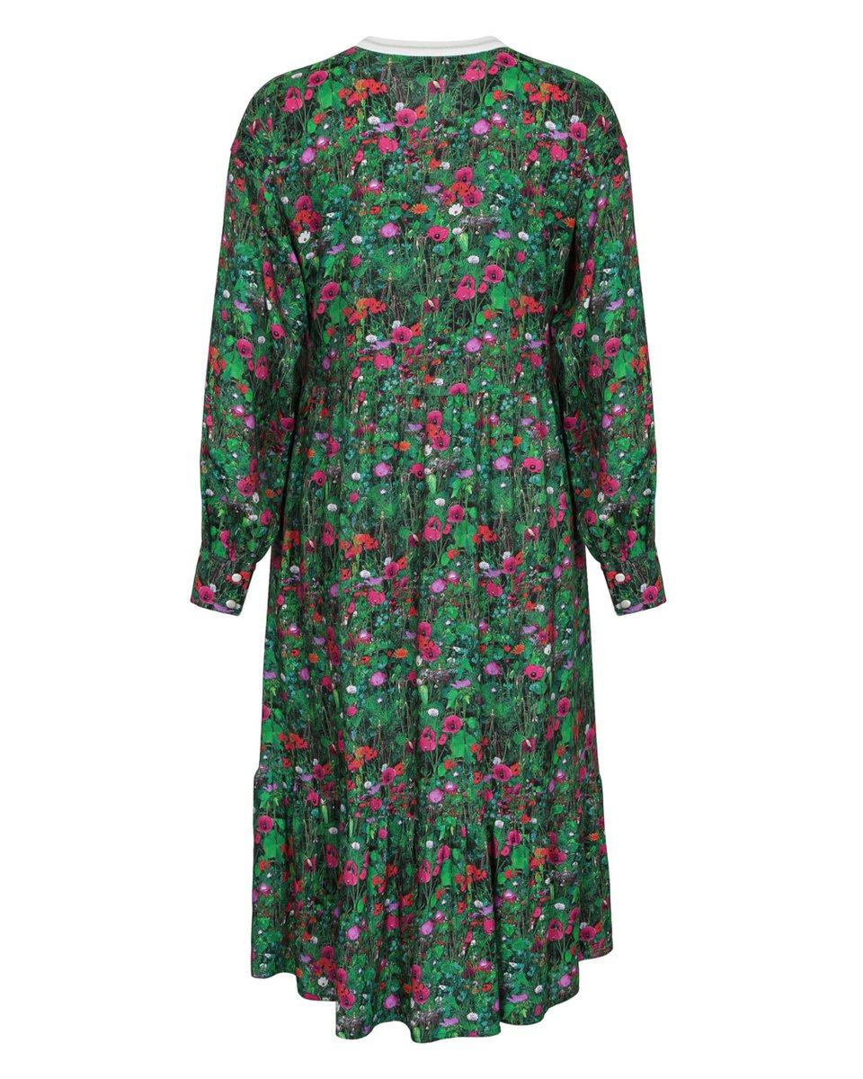 Платье с пышным воланом и цветочным принтом