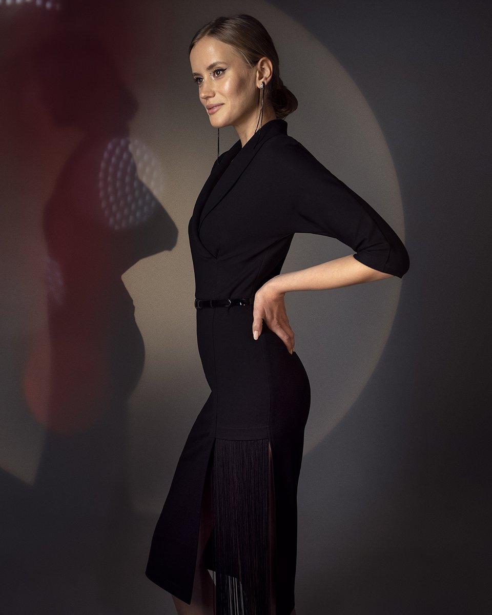 Трикотажное платье с бахромой