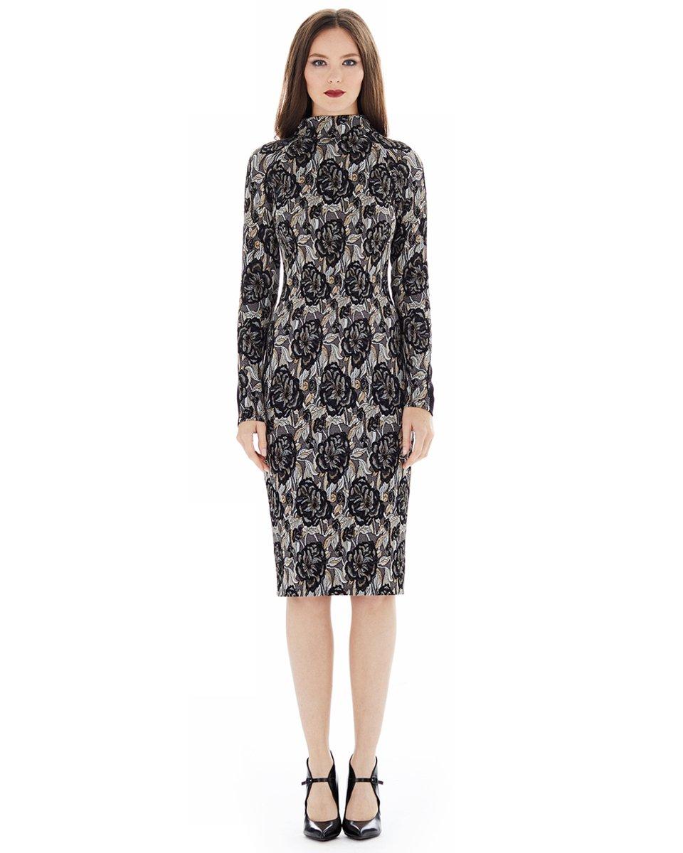 Комбинированное трикотажное платье с жаккардом, черное