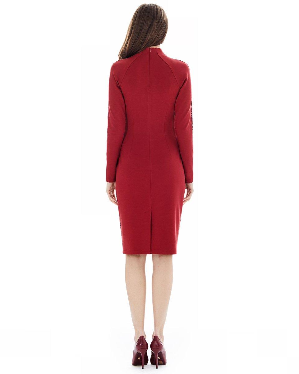 Комбинированное трикотажное платье с жаккардом, красное