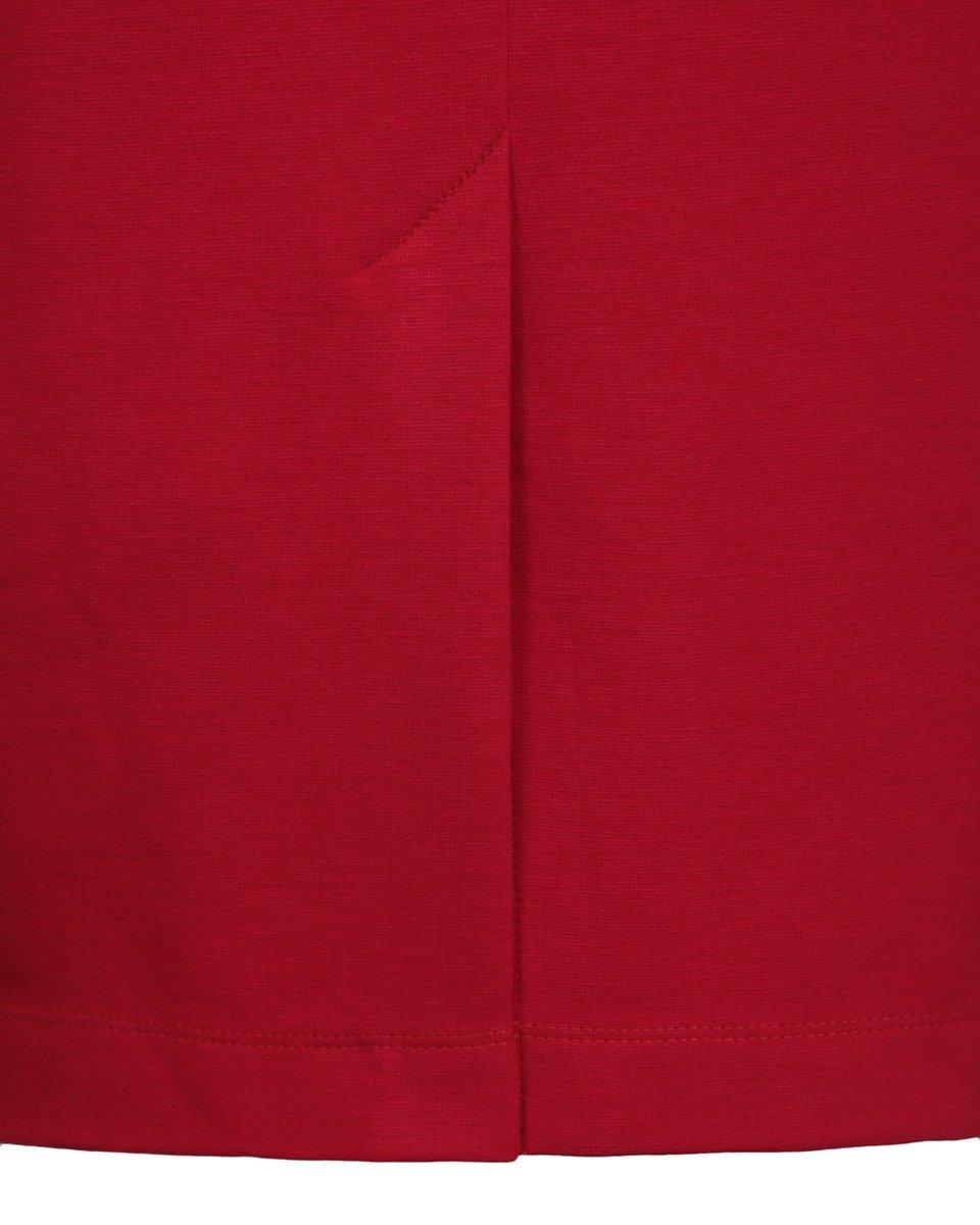 Платье трикотажное алого цвета с Т-образным воротником стойкой