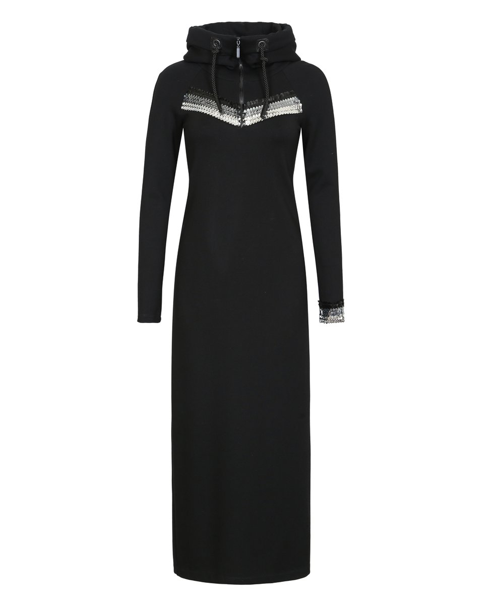 Платье трикотажное макси с капюшоном декорированное пайетками