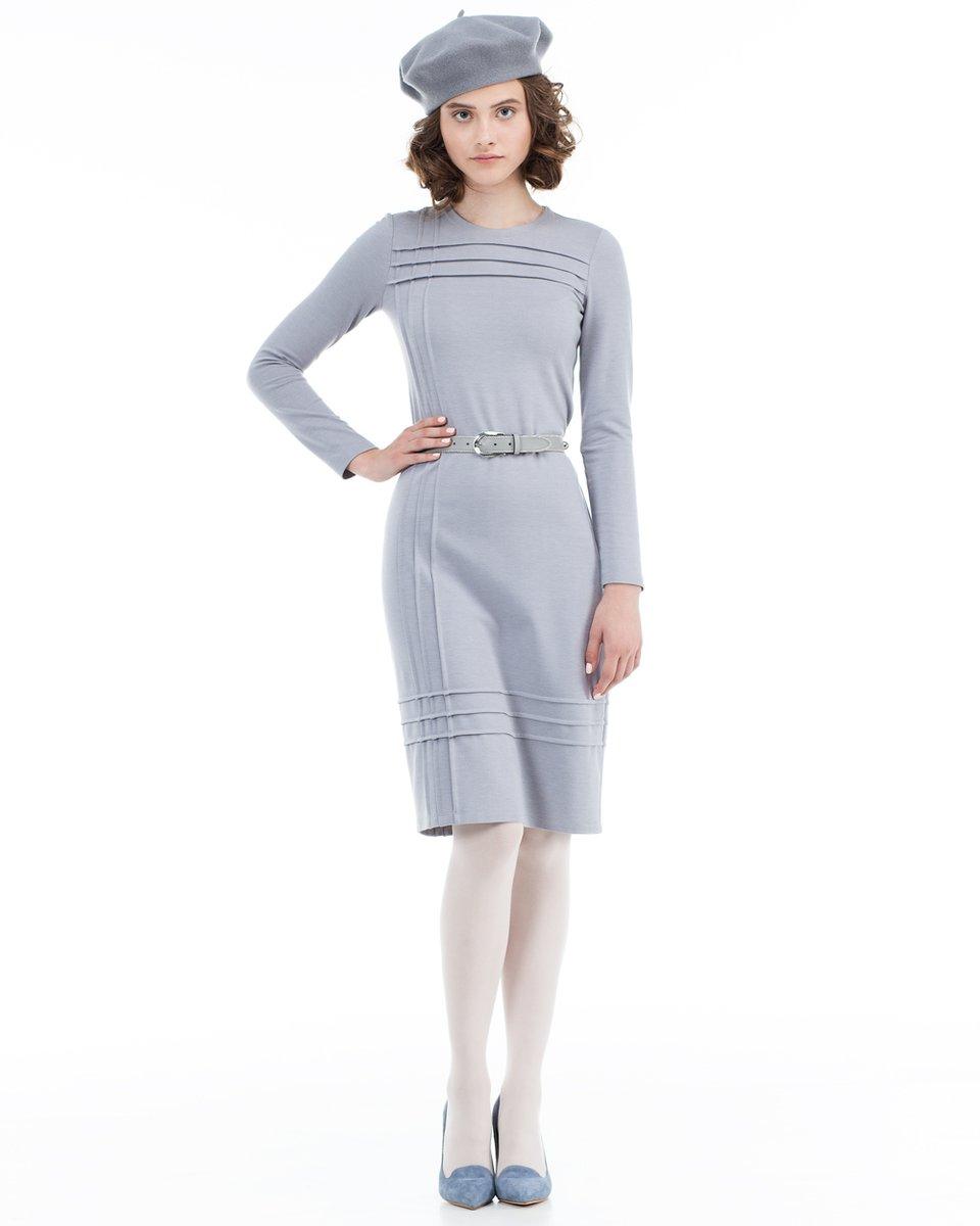 Платье трикотажное с фигурной отстрочкой