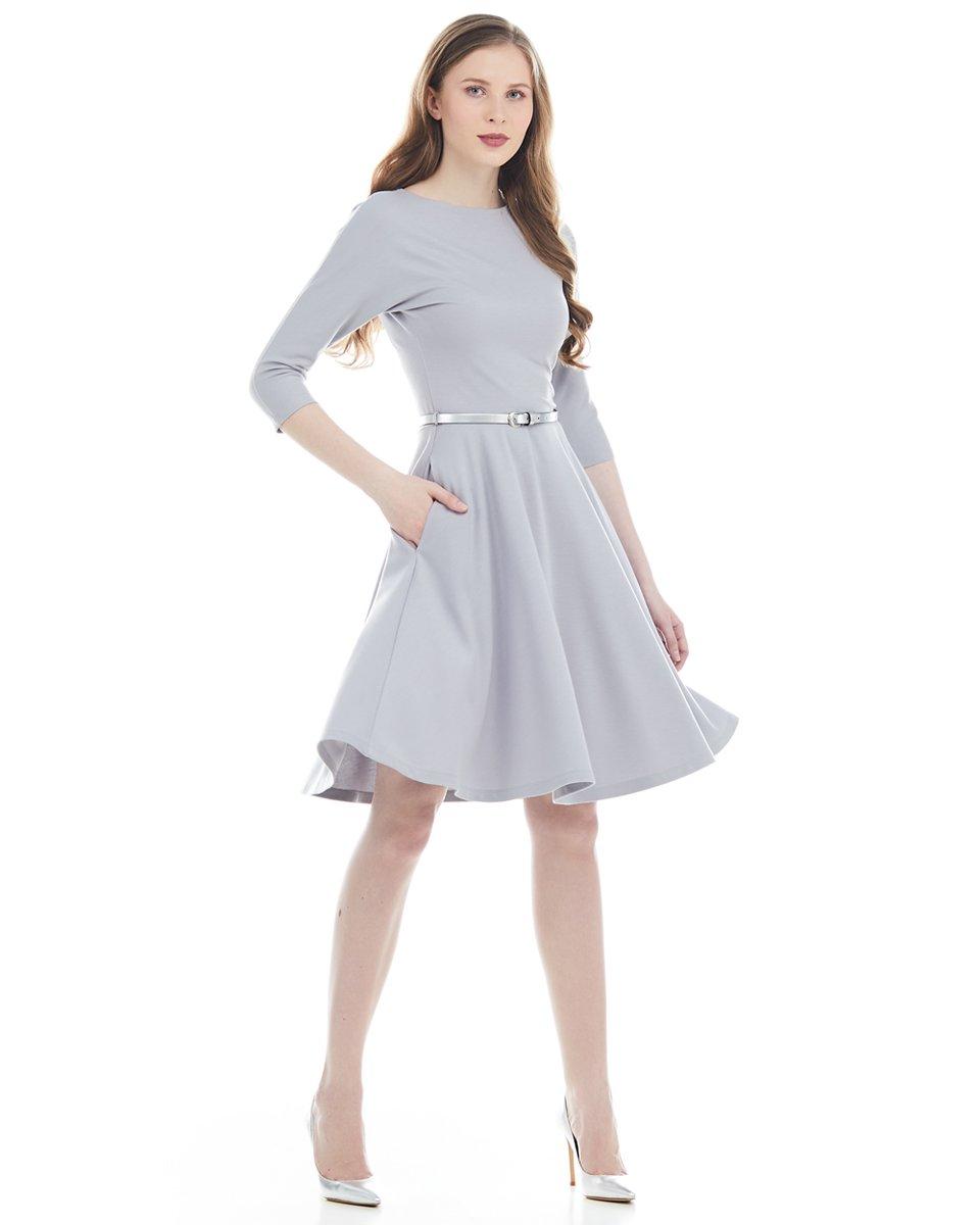 Платье трикотажное с рукавом три четверти и юбкой-солнце, серое