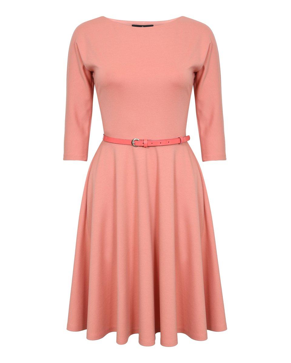 Платье с юбкой-солнце персикового цвета
