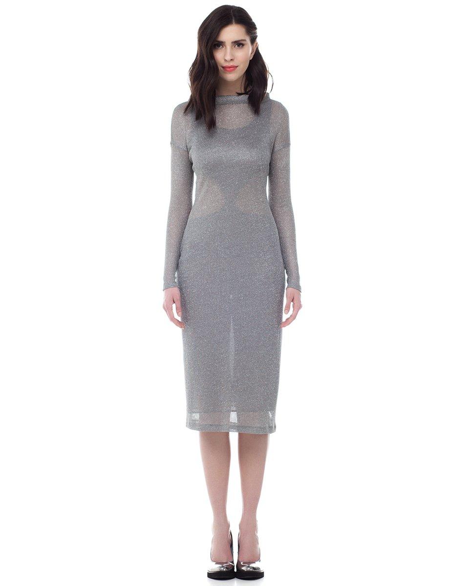 Платье трикотажное с серебряной нитью