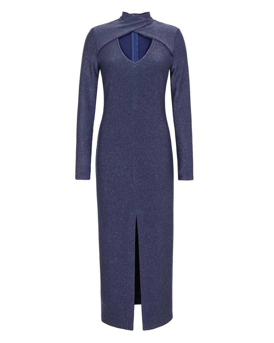 Платье сапфирового цвета с X-образным воротником стойкой
