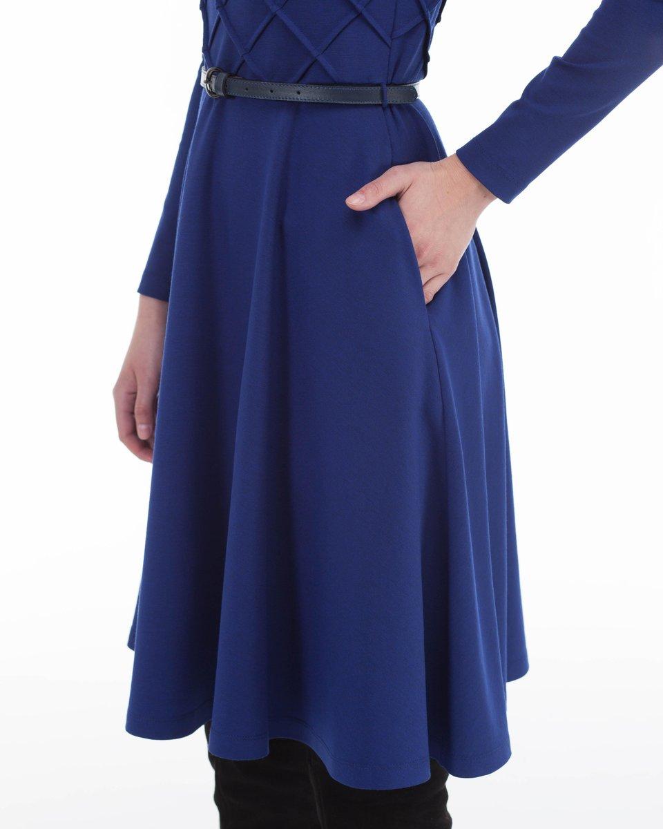 Трикотажное платье с юбкой-солнце ультрамаринового цвета