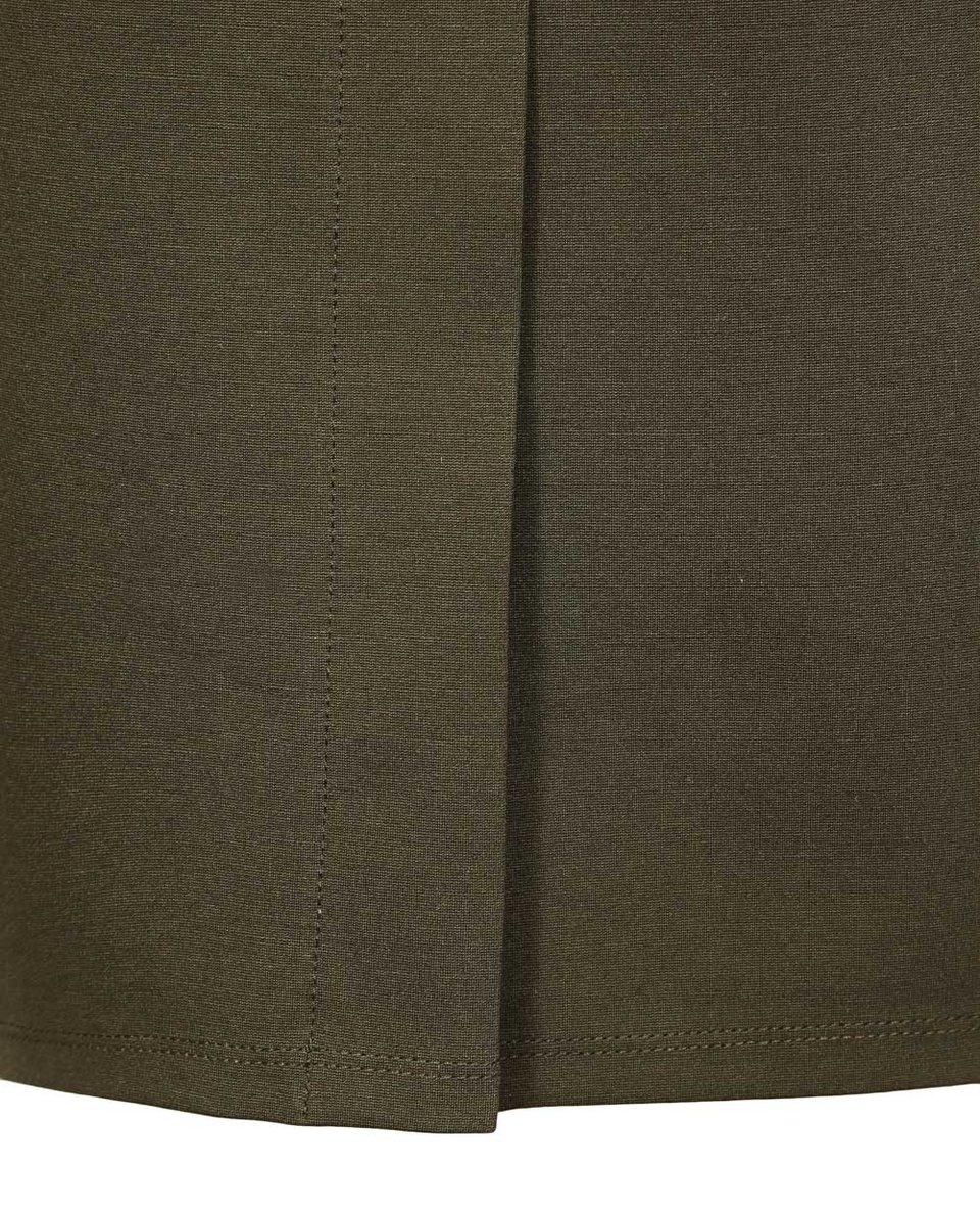Платье цвета хаки с лацканами и поясом