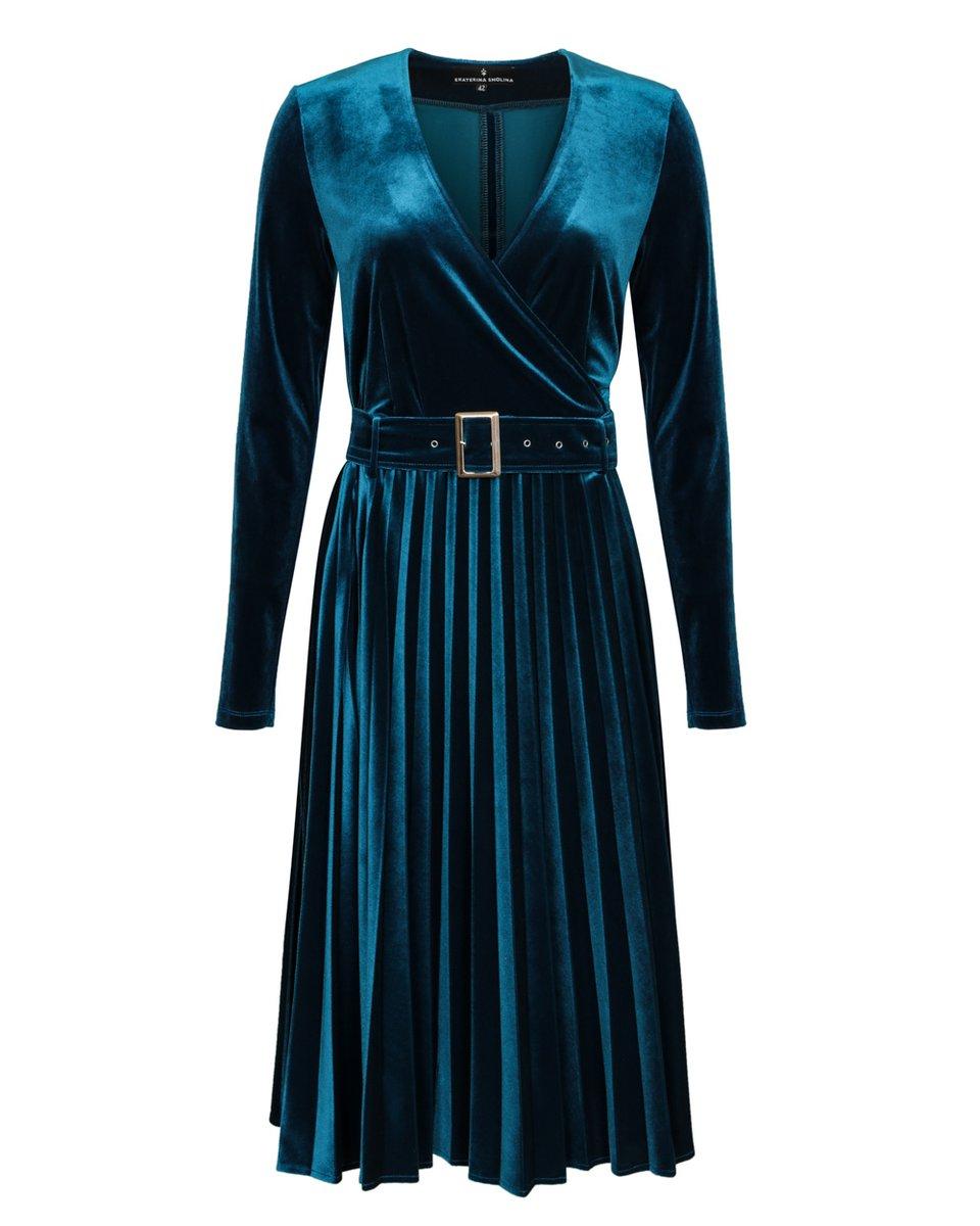 Платье цвета морской волны с юбкой-гофре