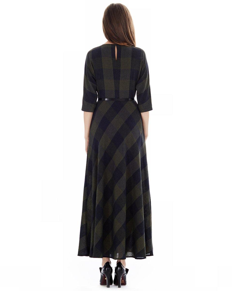 Длинное шерстяное платье в клетку
