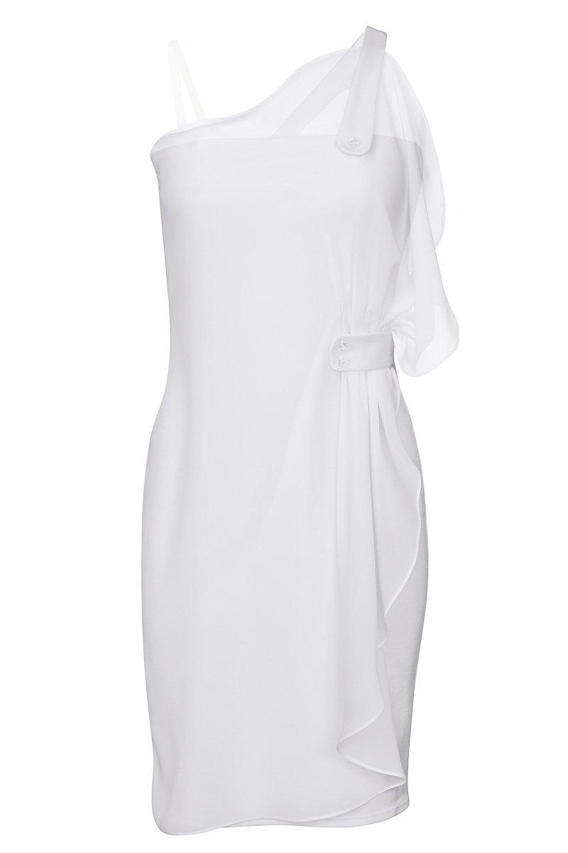 Платье трикотажное с асимметричным воланом