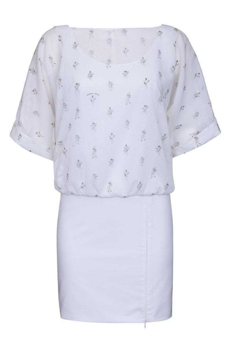 Платье из комбинированных тканей