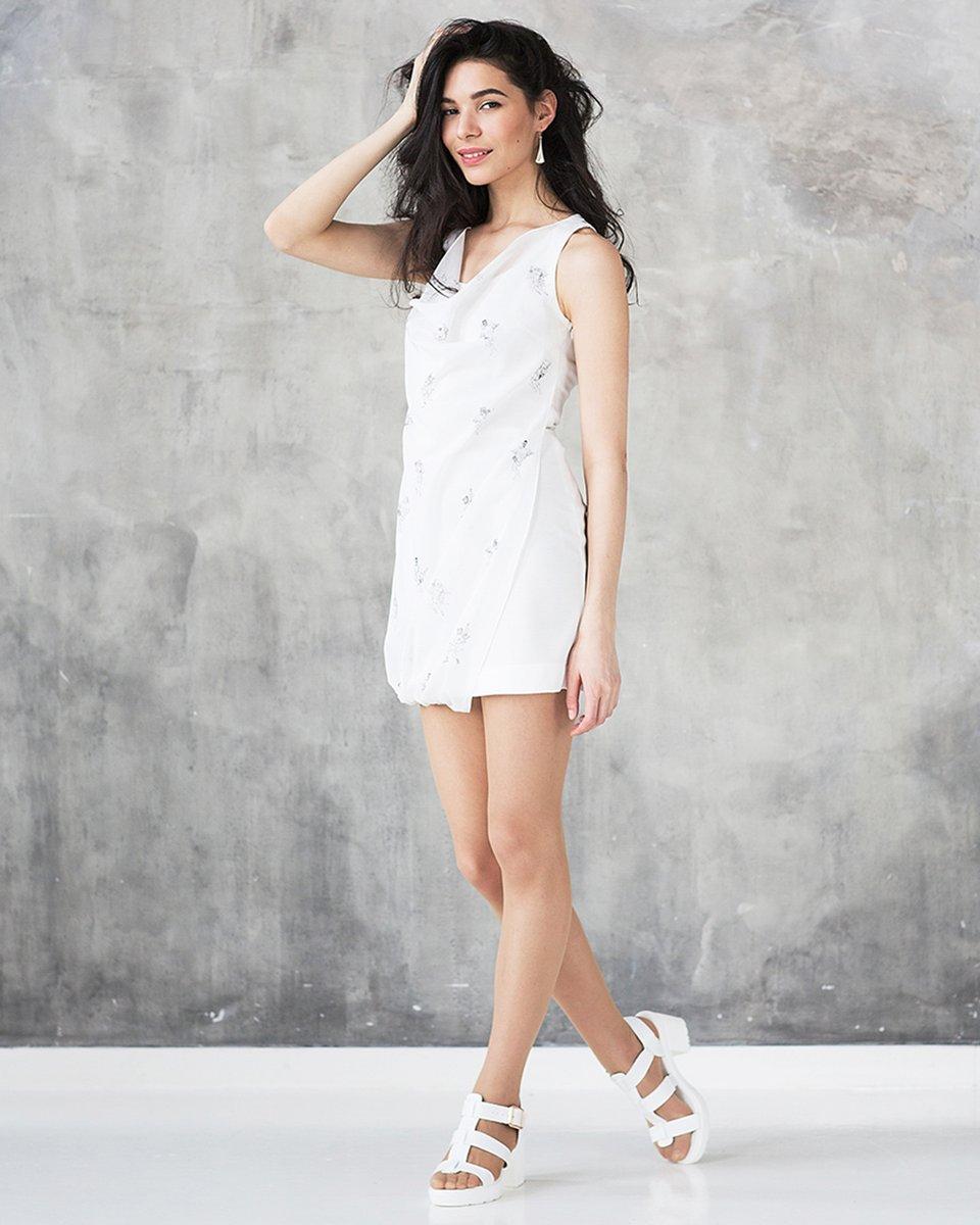 Платье из трикотажа и хлопка