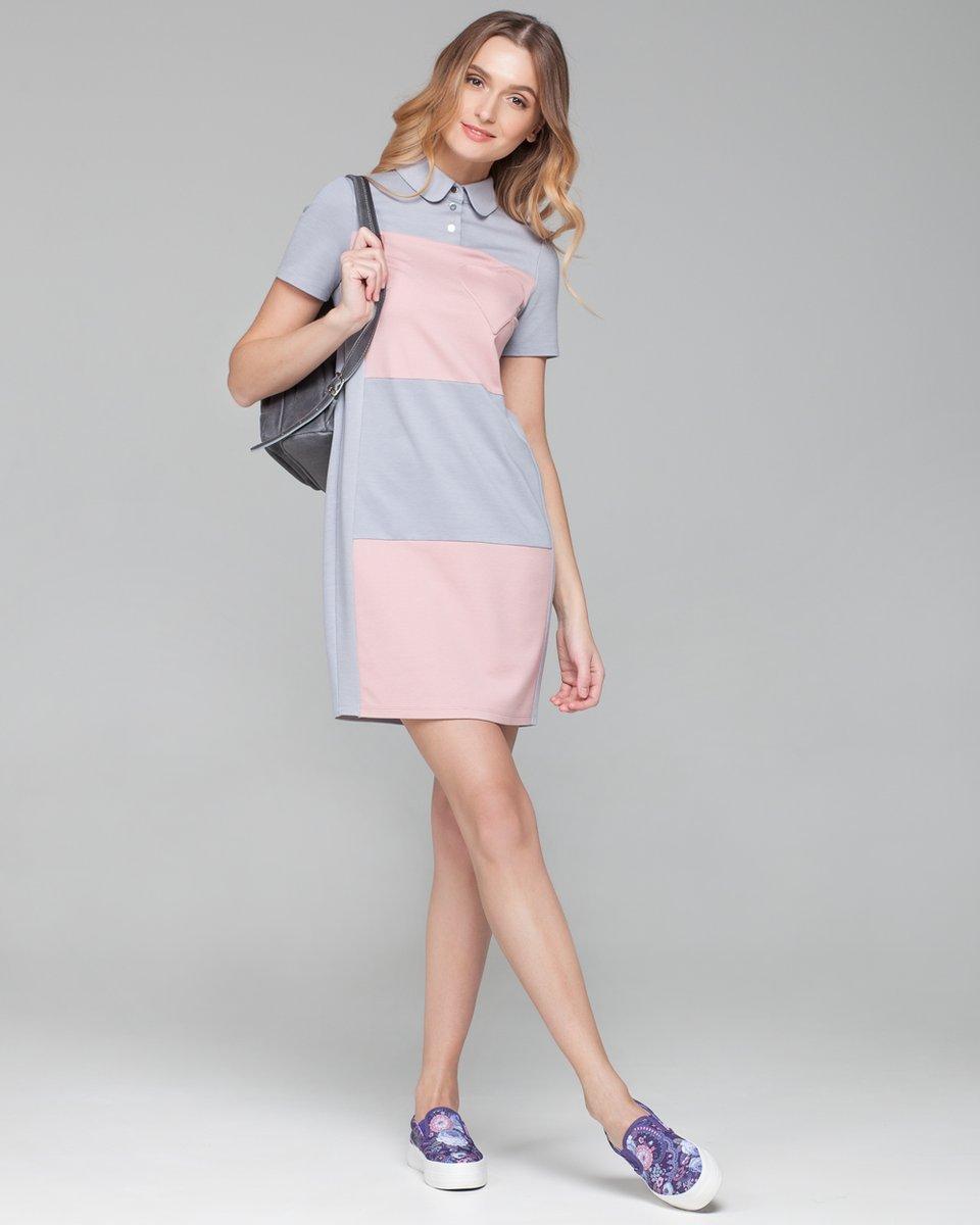 Прямое платье колор-блок