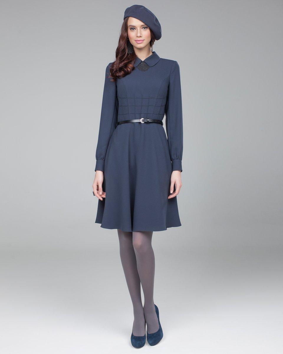 Платье с декоративной отстрочкой