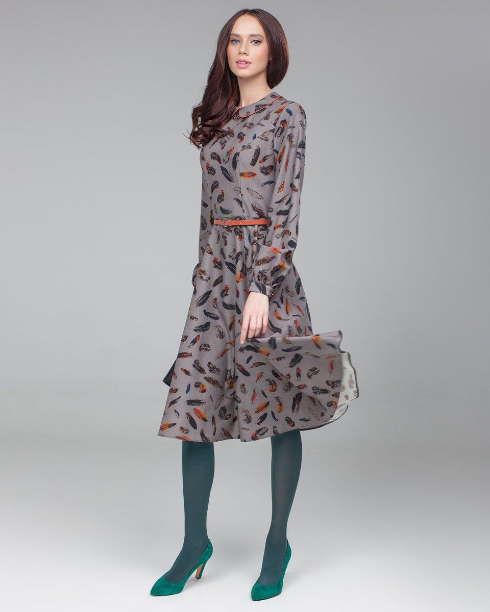 """Платье с авторским принтом """"перо"""""""
