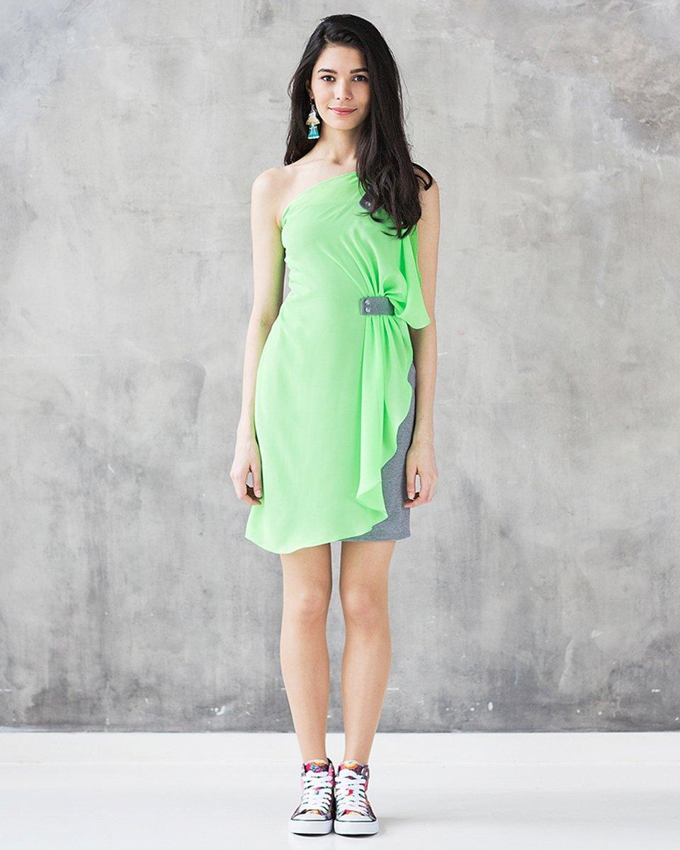 Платье трикотажное из комбинированных тканей