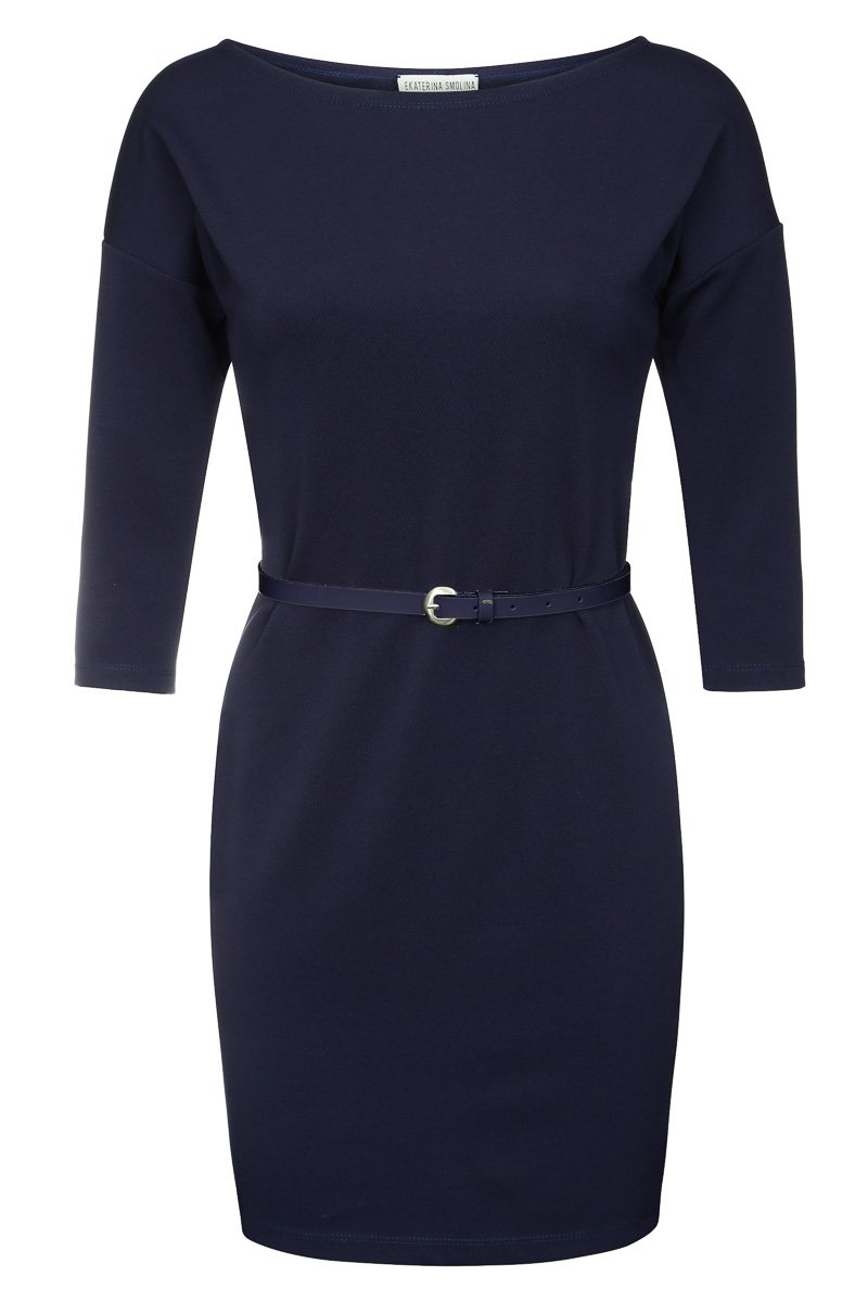 Платье с цельнокренным укороченным рукавом