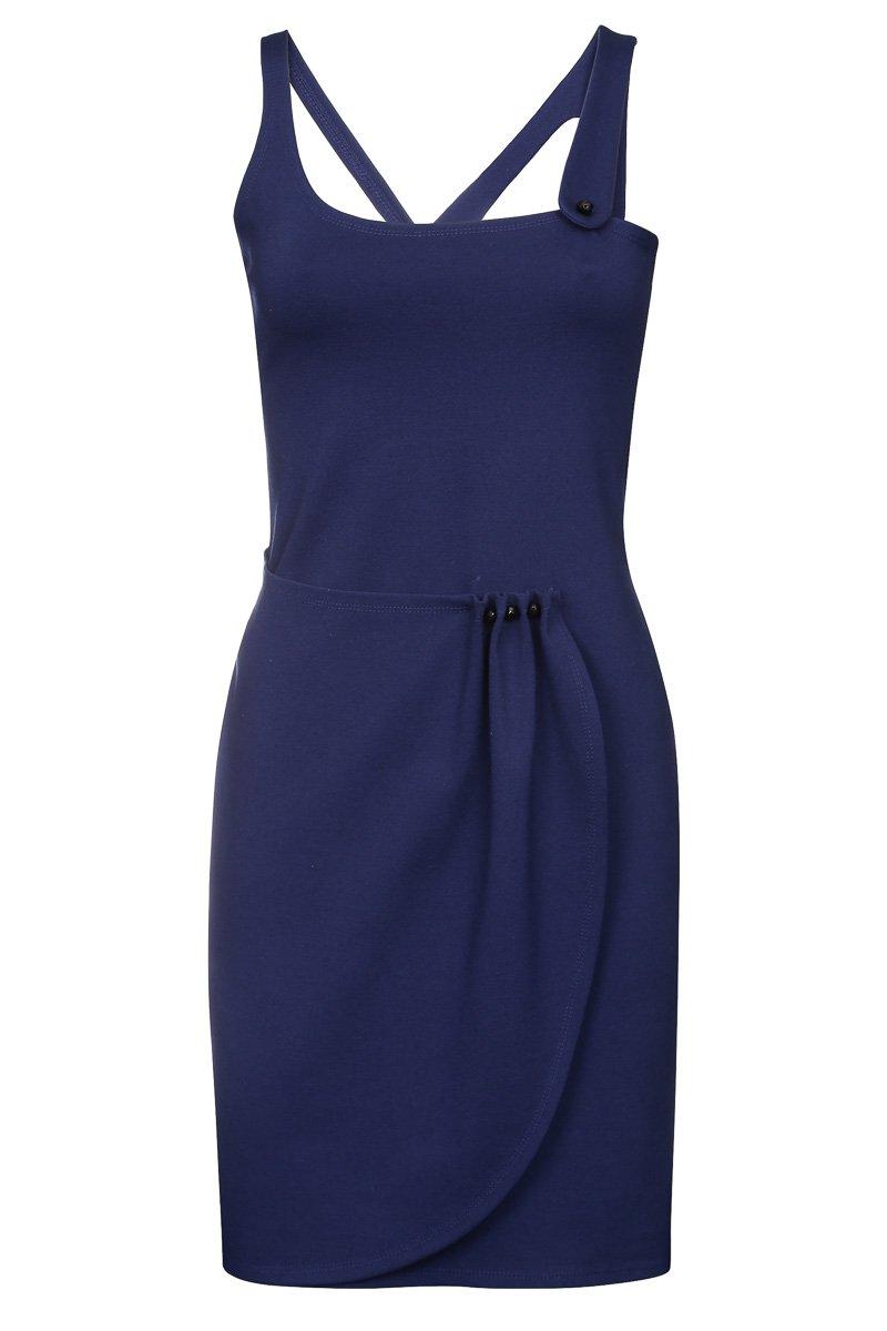 Платье из плотного трикотажа с асимметричной юбкой