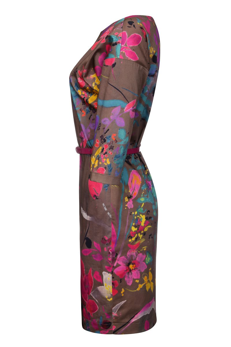 Платье из хлопка с принтом в виде ярких цветов