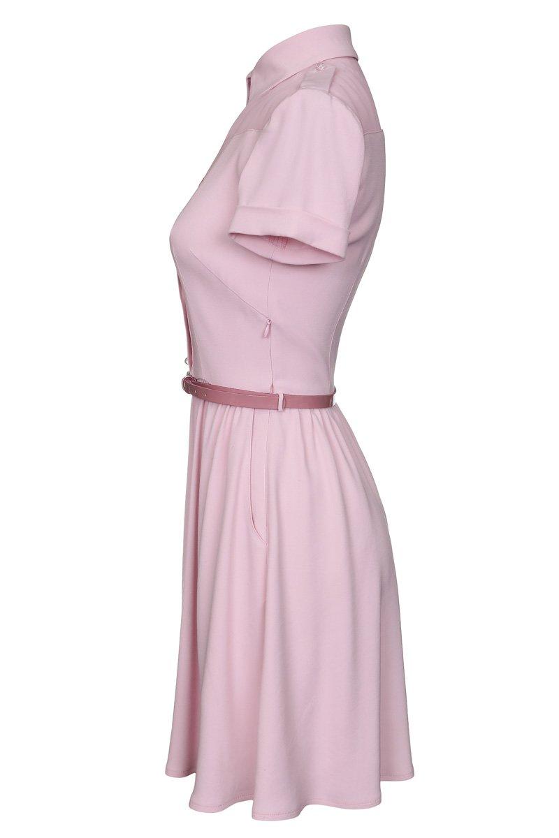 Платье рубашечного типа из комбинированных тканей