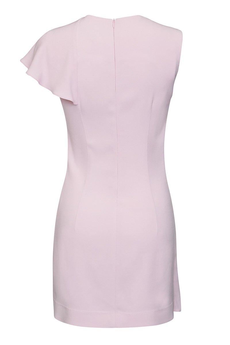 Платье с воланом, розовое