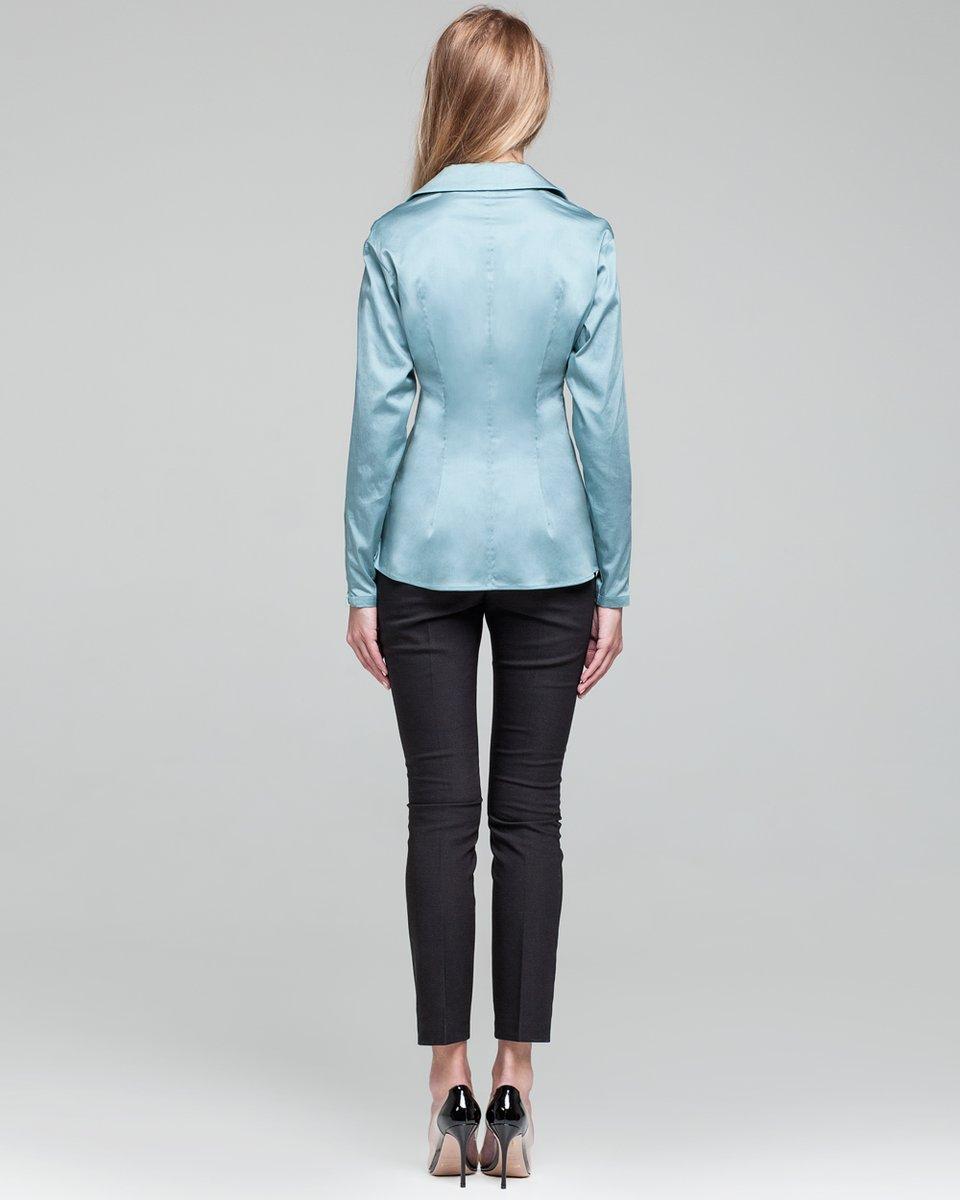 Приталенная блуза бирюзово-синего цвета