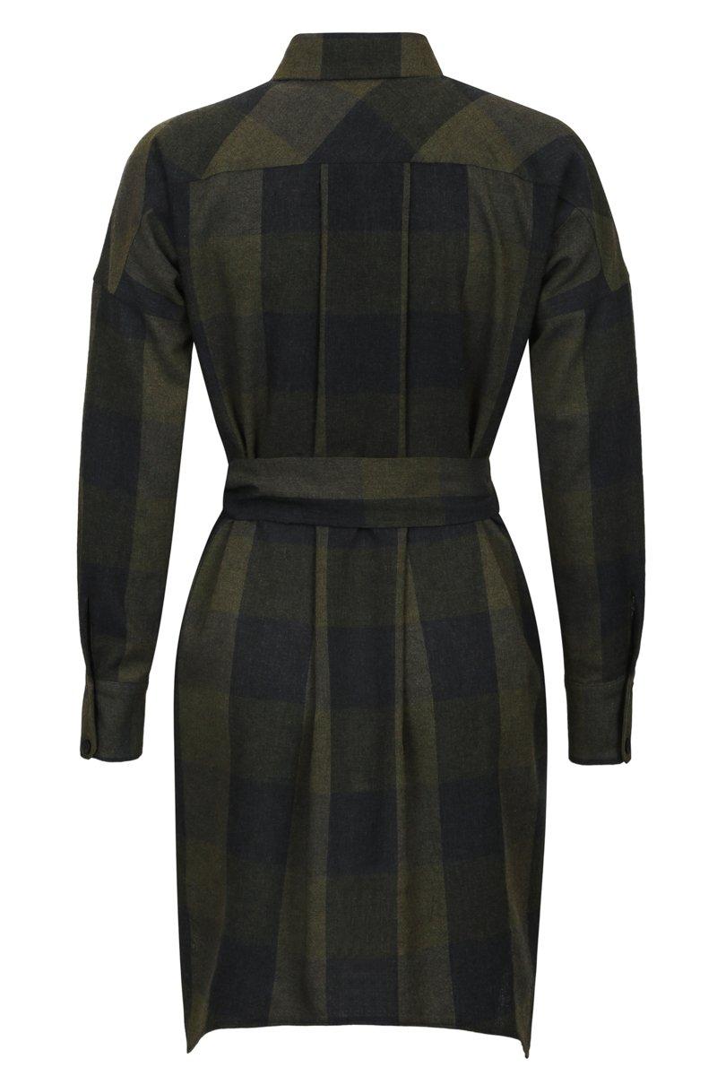Платье-рубашка из шерстяной ткани в клетку
