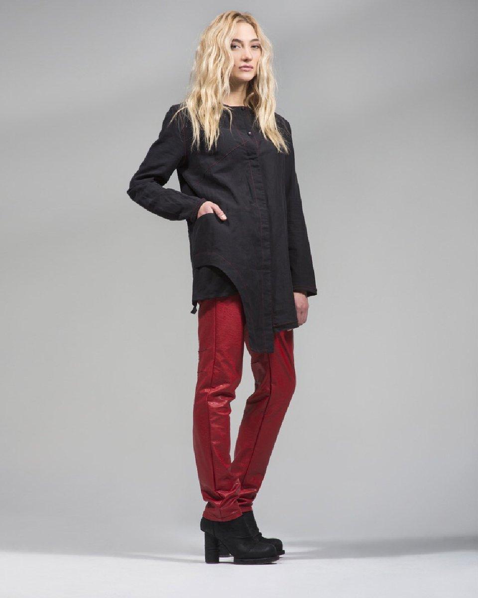 """Рубашка черного цвета """"Carolina"""" с асимметричным подолом"""