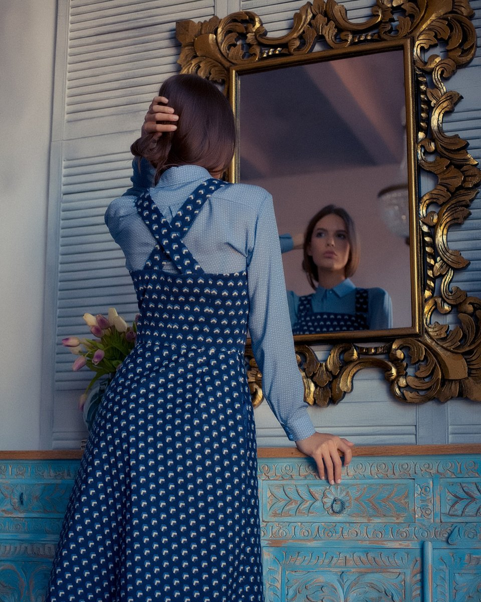 Сарафан из жаккарда с орнаментом, темно-синего цвета