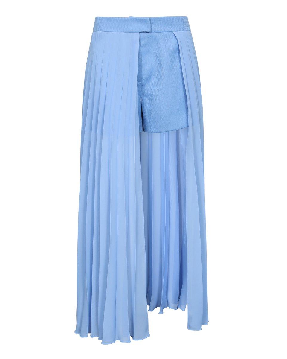 Шорты со шлейфом-гофре голубого цвета