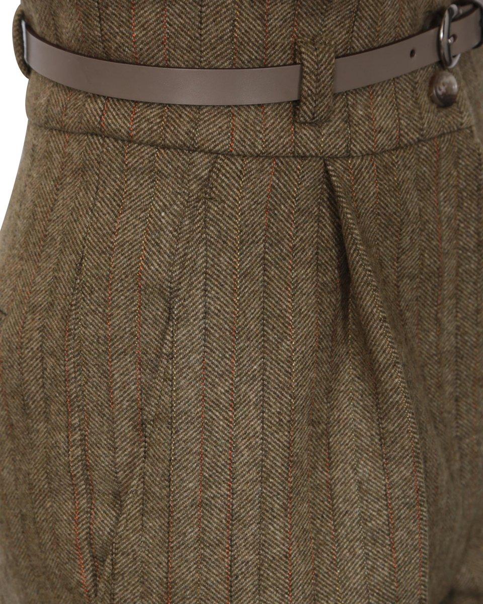 """Шерстяные шорты в офисном стиле с узором """"Елочка"""""""